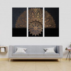 Conjunto 3 Tela Decorativa Mandala Dourado