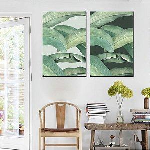 Dupla de Telas Decorativa Folhas de Bananeiras