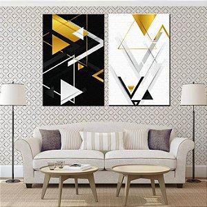 Dupla de Telas Decorativa Geométrico Dourado