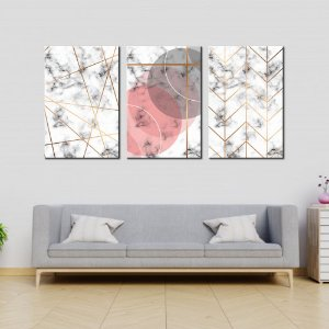 Trio de Telas Decorativa Geometrico Detalhes