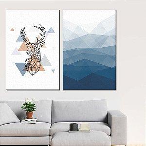 Dupla de Telas Decorativa Triângulos e Formas Azuis