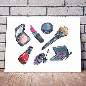 Placa Decorativa Itens de Maquiagem 02 (AL) 40x30CM
