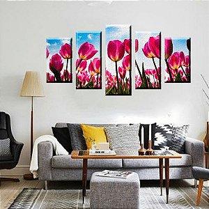 Quadro Flores Tulipas 5 Peças Mosaico