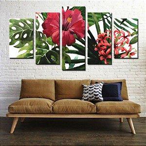 Quadro Floral Hibisco Vermelho 5 Peças