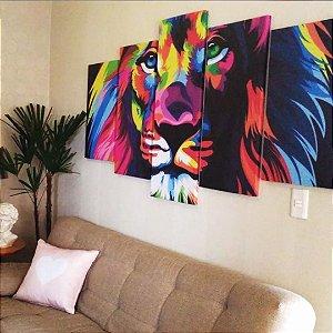 Quadro Leão Colorido 5 Peças