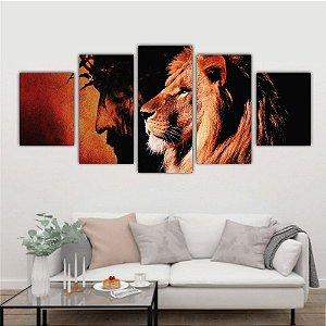 Quadro Leão & Cristo 5 Peças