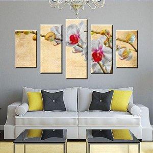 Quadro Orquidea Pintura Sol 5 Peças
