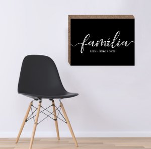 Quadro Familia Personalizado - fundo preto [Box em MDF]