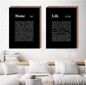 Dupla Quadros Decorativos Home Life [Box em MDF]