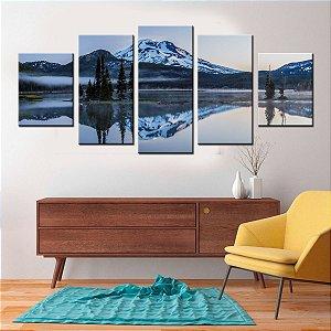 Conjunto 5 Quadros Canvas Paisagem Glassial