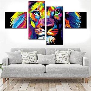 Quadro Banner Mosaico Leão Moderno 150x80cm