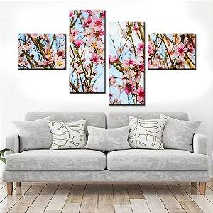 Quadro Banner Mosaico Flores 150x80cm