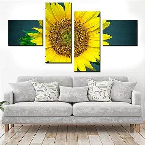 Quadro Banner Mosaico Girassol 150x80cm