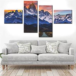 Quadro Banner Mosaico Montanhas 150x80cm