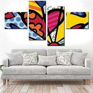 Quadro Banner Mosaico Romero Britto 150x80cm