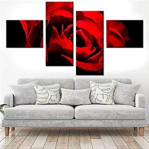 Quadro Banner Mosaico Rosa Vermelha 150x80cm