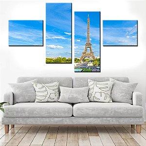Quadro Banner Mosaico Torre Eiffel 150x80cm