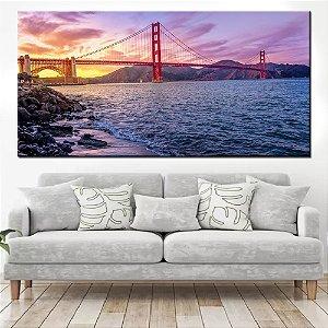 Quadro Panorâmico Banner Ponte Golden Gatel 100x50cm