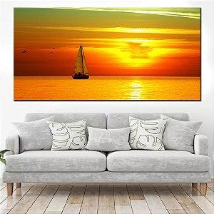 Quadro Panorâmico Banner Por do Sol no Mar 100x50cm