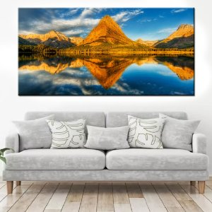 Quadro Panorâmico Banner Reflexo Montanha 100x50cm