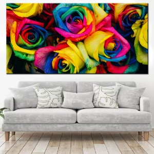 Quadro Panorâmico Banner Rosas Coloridas 100x50cm