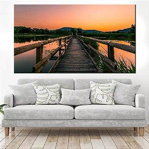 Quadro Panorâmico Banner Caminho no Lago 100x50cm