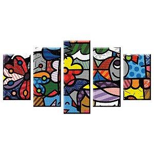 Conjunto 5 Telas Decorativas Romero Britto