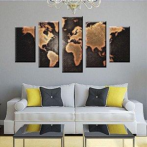 Conjunto 5 Quadros Mapa Mundi 3D