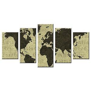 Conjunto 5 Telas Decorativas Mapa Mundi OLD