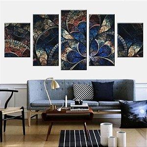 Conjunto 5 Telas Decorativas Fractal Azul