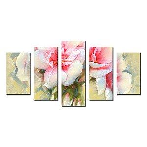 Conjunto 5 Telas Decorativas Flor Pintura
