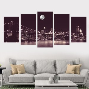 Conjunto 5 Quadros Ponte do Brooklyn Nova York