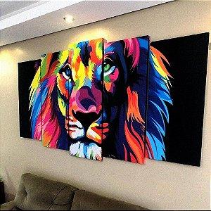 Conjunto de 5 Telas Leão Colorido