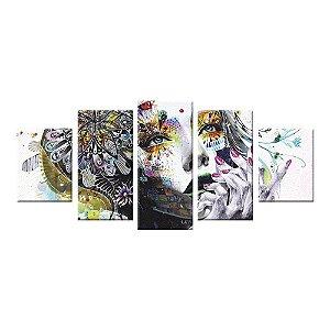 Conjunto 5 Telas Decorativas Abstrato Mulher