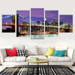 Conjunto 5 Quadro Ponte do Brooklyn Iluminada