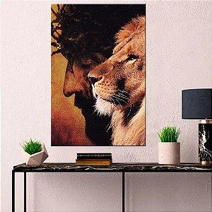 Quadro Tela Decorativa Leão e Cristo Vertical