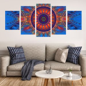 Conjunto 5 Quadros Vitral Mandala Azul