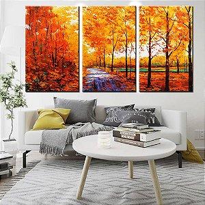 Conjunto 3 Tela Decorativa Pintura de Outono