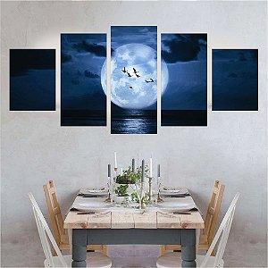 Conjunto 5 Quadros Lua Cheia no Mar