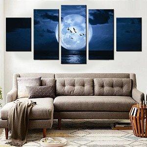 Conjunto 5 Telas Decorativas Lua Cheia no Mar