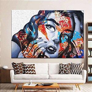 Quadro Tela Decorativa Mulher Style Grafitte
