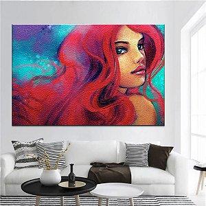 Quadro Tela Decorativa Mulher de Cabelos Vermelhos