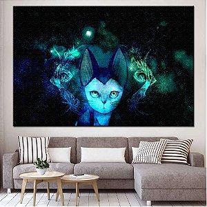 Quadro Tela Decorativa Gato Psicodélico
