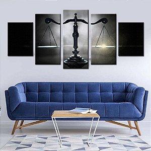 Quadro 5 Telas Decorativas Balança da Justiça Advogado Advocacia