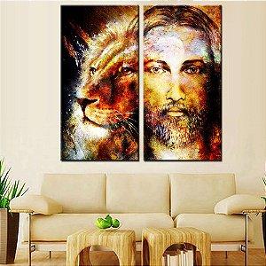 Dupla de Telas Decorativa Leão e Jesus Aquarela