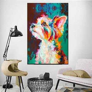 Quadro Tela Decorativa Dog Aquarela