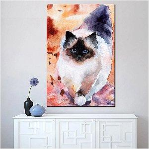 Quadro Tela Decorativa Gato Miau Aquarela