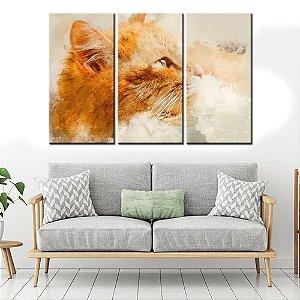 Conjunto 3 Tela Decorativa Advogado Gato Aquarelado