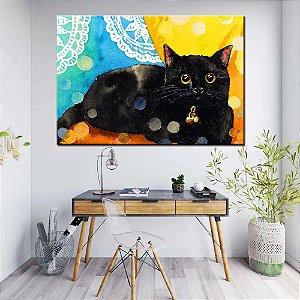 Quadro Tela Decorativa Gato de Sininho