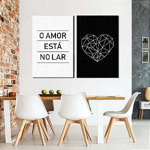Dupla de Telas Decorativa O amor está no Lar
